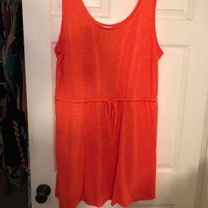 Coral Tank Dress With Tie Waist